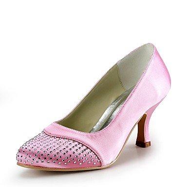 Wuyulunbi@ Damen Schuhe Seide Frühling Sommer Basic Pumpe Hochzeit Schuhe Schuhe Schuhe niedrigem Absatz Closed-toe Strass für Hochzeit Party & Abend Rosa 4a7721