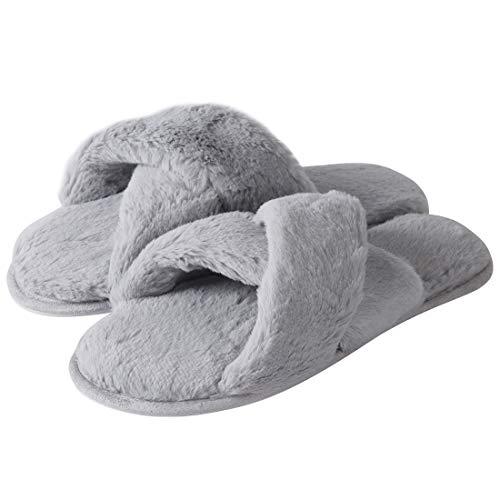 Forfoot Womens Flip Flops Slippers, Soft Fleece Plush Warm Indoor Slipper Room House Shoes Light Grey US Womens Slipper Size 5/6