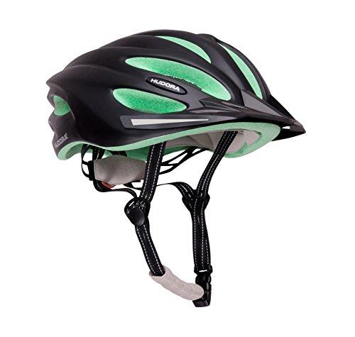HUDORA Basalt fietshelm dames heren, fietshelm fietshelm maat 49-63, zwart/groen