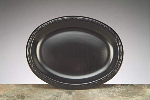 Platter Laminated Foam - Genpak 8.5 x 11.5 inch Elite Laminated Oval Foam Platter Black - 500 per case.