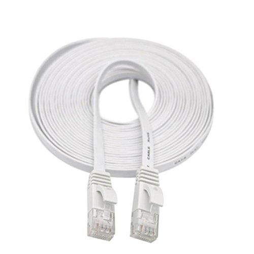 (1M/2M/3M/5M/10M/15M/20M RJ45 CAT6 Ethernet Network LAN Cable Flat UTP Patch Router Interesting Lot ,Tuscom (1M, White))