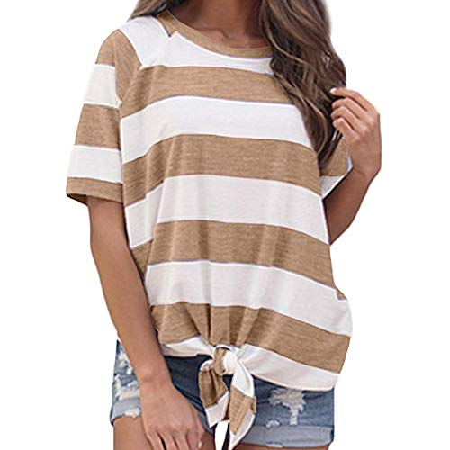 LONGDAY Women's Short Sleeve Striped Crop T-Shirt Casual Tee Tops Crew Neck Tie Front Loose Blouse Plus Size Tunic Khaki -