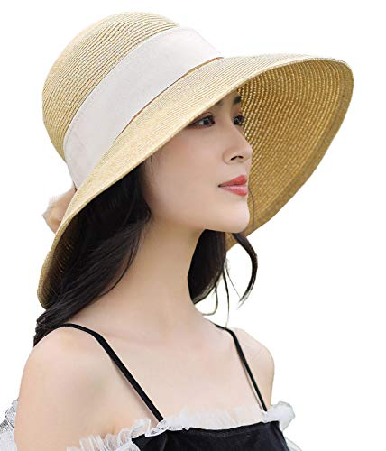 (Womens Crushable UV Protection Summer Sun Hat Ladies Wide Brim Adjustable Travel Beach Raffia Hat 55-58cm Beige)