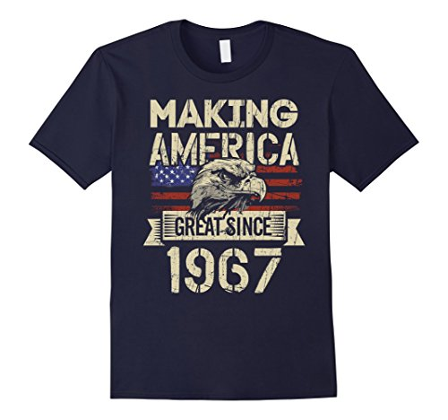 Mens Great Since 1967 - 50th Birthday Gift, American Flag Shirt 3XL Navy