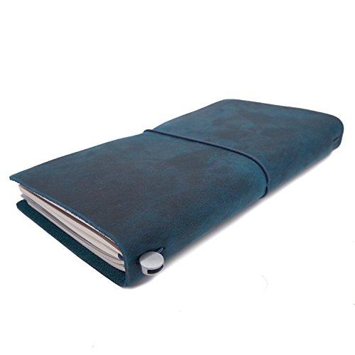 Collasaro Leather Travel Journal for Men Women Refillable Travelers Notebook, Medium, ()