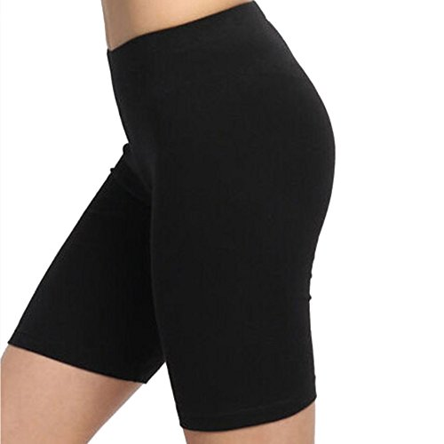 WANQUIY Women's Solid Elastic Waist Casual Fitted Shorts Women's Swim Active Sports Bottom Board Shorts Black ()