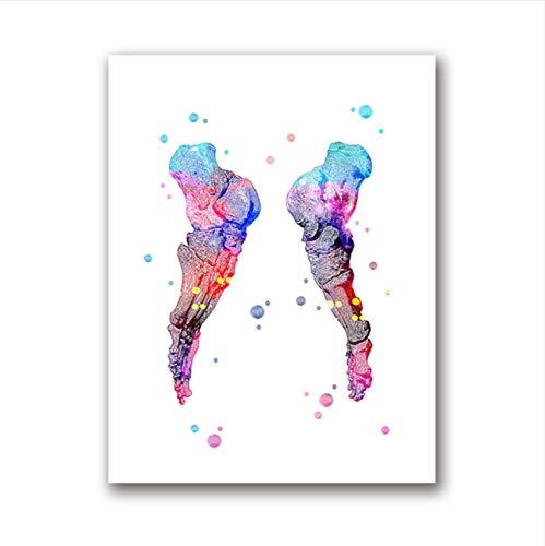 Conjunto de impresión de pies Esqueleto Acuarela Arte ...
