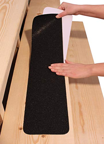 "6""x30"" Stair Treads Non-Slip Outdoor Tape - (10-Pack) Black Anti-Slip Strips"