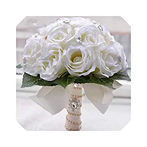 Artificial Ivory Rose Wedding Decoration Flower Bridal Bouquet Bridesmaid Bride Wedding Bouquet Crystal 91