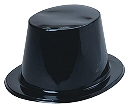 US Toy Plastic Top Hats, Pack of 12, Black