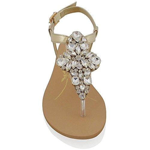 Essex Glam Kvinna T-bar Syntetisk Glittrande Rhinestone Platt Tå Inlägget Sandal Skor Guld
