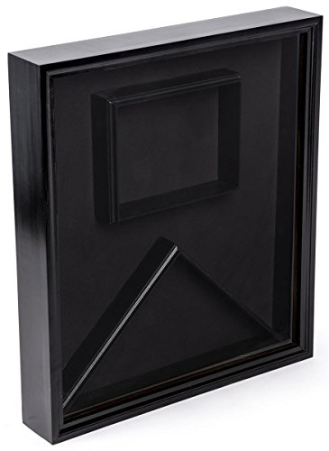 Displays2go, Glass Display Case for Military Ensign, Pine and Glass Construction, Velvet Backer – Black Finish (FCC595LABK) by Displays2go