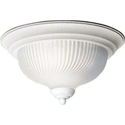 Progress Lighting P3536-30 Close-To-Ceiling Fixture with Swirled, Satin Etched Glass, Textured White