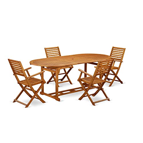 East West Furniture BSBS5CANA This 5 Piece Acacia Wood Backyard Dining Sets Includes one Outdoor Table and 4 Chairs