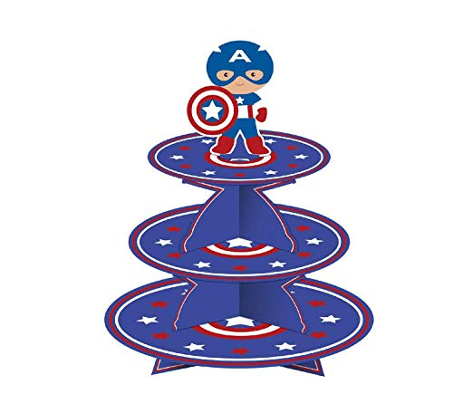 Astra Gourmet Captain America Party Supplies - Captain America Cupcake Stand, Themed Party Supplies, Quick and Easy 3-Tier Cupcake Tower Stand