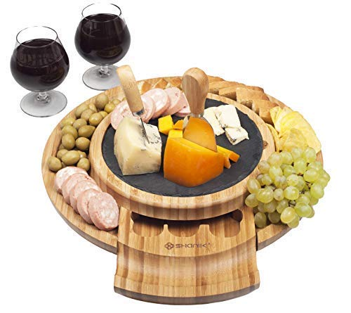 Wine Cheese Plate - Cheese Board, Round Charcuterie Board With Slide Out Utensils Drawer-Bamboo Cheese Board With Stainless Steel Cutlery Set Of 2 Knives And 1 Fork-Serving Platter Tray For Cheese, Appetizers & Crackers