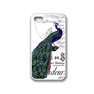 CellPowerCasesTM Vintage Collage Peacock iPhone 4 Case White - Fits iPhone 4 & iPhone 4S