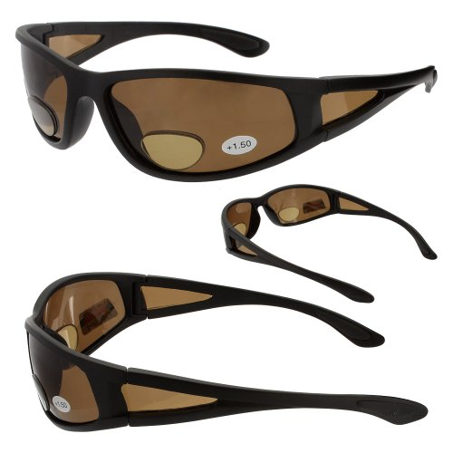 Ragged Bronze Polarized Bifocal Sunglasses Magnifier Readers - Magnifier Sunglasses With