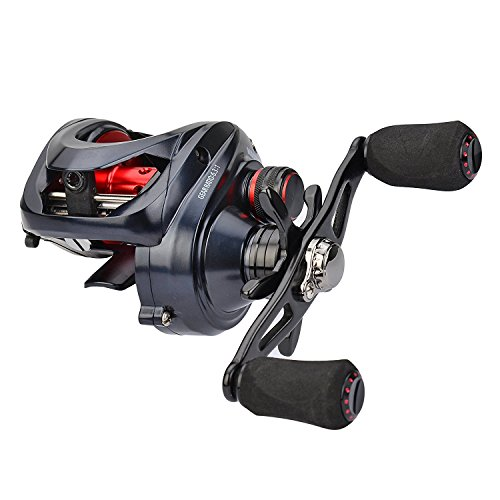 KastKing Spartacus Maximus Metal Baitcasting Fishing Reel – Saltwater Baitcaster- 10 + 1 Shielded Stainless Bearings - 25 LB Carbon Fiber Drag - Zero Flex Aluminum Alloy Construction(Left Handed Reel) (Casting Plus Reel)