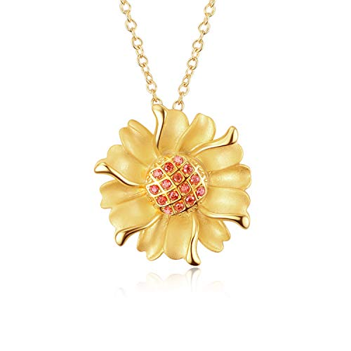 Sunflower Necklace Sterling Silver Gold-Tone Sunflowers with Orange CZ & Swaying Petals, Jewelry for Women Girls Lovers (Sunflower Necklace)