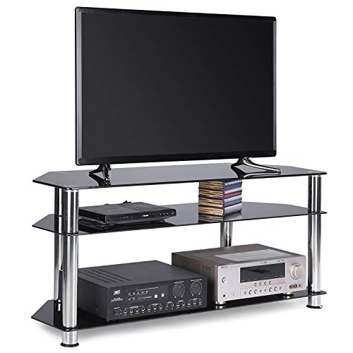 Rfiver Glass Corner TV Stand Fits Most 32 37 40 42 46 47 50 55 inch Plasma LCD Led OLED Flat/Curved Screen TVs, Black Tempered Glass and Chrome Tube, 3 Shelves TS1003