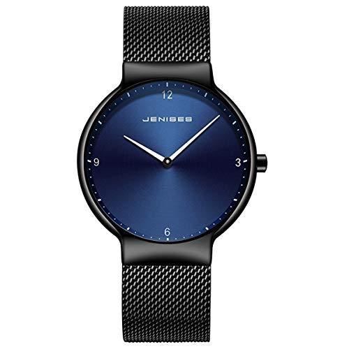 Men's Ultra-Thin Watch, Stainless Steel Slim Men Watch,Men's Fashion Minimalist Quartz Watch,Blue/Black Face Black Milanese Mesh Band -