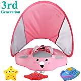 VQ-Ant Upgrade 3rd Generation Baby Solid Swimming Float No Need Inflatable Swimming Ring Swim Training Aid for Bathtub Pools Swim Trainer Swim Float with Sun Canopy Swim Ring with Sunshade(PinkC)
