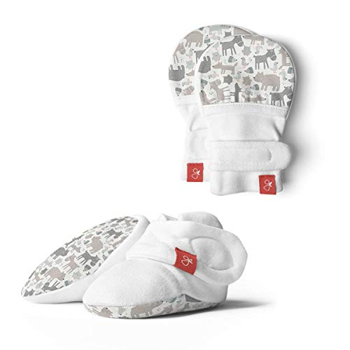 Baby Booties & Mittens Bundle, Adjustable Soft & Secure (Forest Friends/Gray, 0-3 Months)