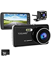 TOGUARD 【Upgraded 720P Rear Cam】 Full HD 1080P Dual Dash Dam(32GB Card Included) 4.0 inch LCD Screen Car Dash Cam DVR, Front Camera and Rear View Cam, 170 Degree Wide, Parking Monitor
