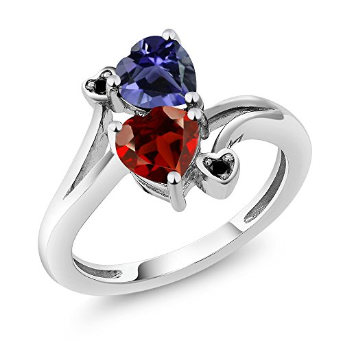 1.51 Ct Heart (1.51 Ct Heart Shape Red Garnet Blue Iolite 925 Sterling Silver Ring)