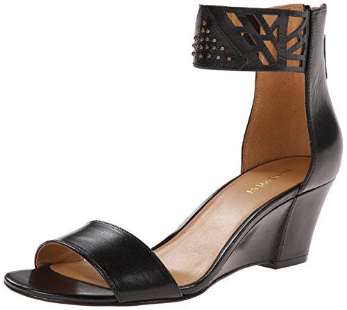 Nine West Women's Valoojan Leather Wedge Sandal, Black, 8.5 M US