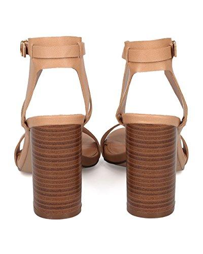 Breckelles Sandalo Con Tacco A Blocchi - Cinturino Incrociato Alla Caviglia - Sandalo Con Tacco Grosso - Similpelle Naturale Hk71