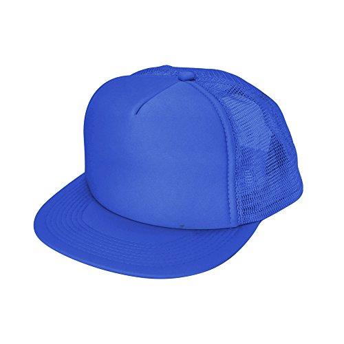 Blue Ball Cap Hat (Flat Billed Trucker Cap With Mesh Back in Royal Blue)