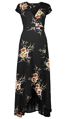 Black Split Dress Short Neck Women's Maxi Jaycargogo Backless Floral V Sleeve Print q8Pv1
