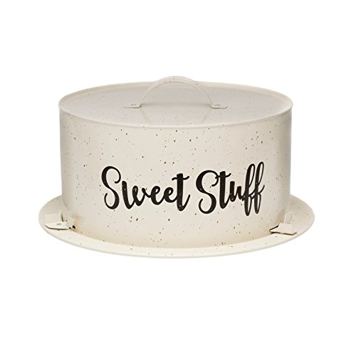 "Amici Home 7CDI045R Maddox Collection Cream and Gold Speckled Metal Cake Carrier, Clipable Cover, Painted Script Decal, 13.5"" Diameter"