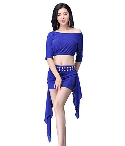 YiiJee Femme Vtements de danse Belly Dance Tops et Jupe Danse du Ventre de Performance Bleu