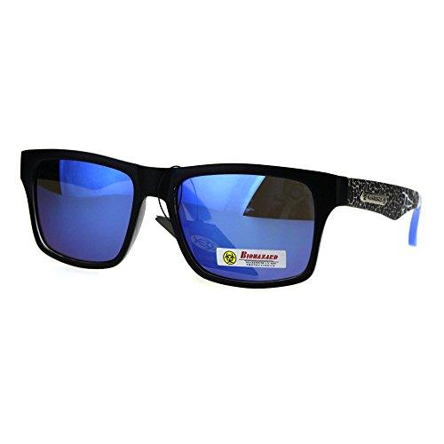 Biohazard Sunglasses Matted Rectangular Frame Unisex Skater Shades Black - Skater Glasses