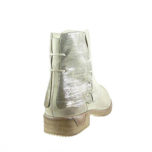 Angkorly - damen Schuhe Stiefeletten - Biker - Reitstiefel - Kavalier - Classic - Geflochten - glänzende Blockabsatz 3 CM - Gold