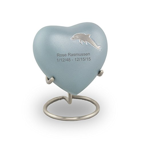 Dolphin Keepsake - OneWorld Memorials Aria Dolphin Bronze Keepsake Urns - Extra Small - Holds Up to 3 Cubic Inches of Ashes - Blue Cremation Urn for Ashes - Engraving Sold Separately