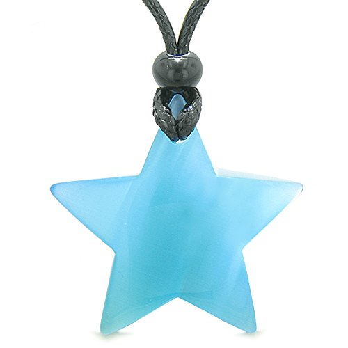 Amulet Magic Super Star Positive Powers Sky Blue Simulated Cats Eye Crystal Lucky Charm Pendant Necklace Magic Amulets