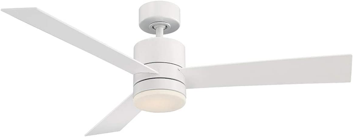 Axis Indoor Outdoor 3-Blade Smart Ceiling Fan 52in Matte White with 2700K LED Light Kit and Wall Control works with iOS Android, Alexa, Google Assistant, Samsung SmartThings, and Ecobee