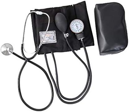 SSB-TZQ, Superior del Brazo Manual de la presión Arterial Monitor del Dispositivo aneroide Manguito Estetoscopio fonendoscopio Kit Medidor (Color : Black with Bag)