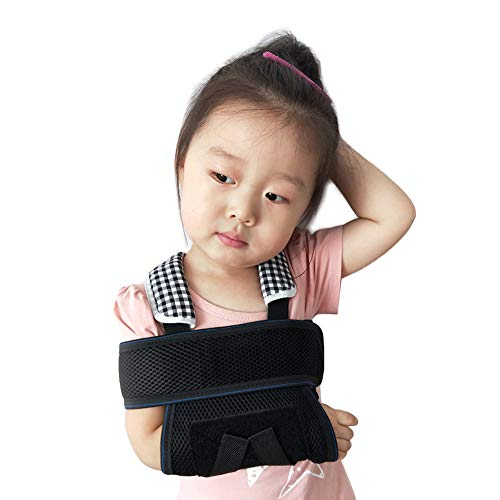 Ibnotuiy Kids Fracture Sling Arm Elbow Fracture Fixed Brace Children Breathable Wrist Dislocation Protection Support (Black) (S)