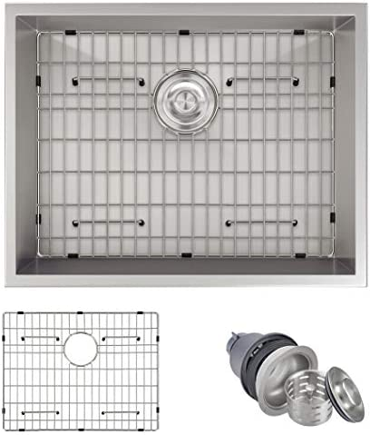MOWA HUD2318 23 Inch Undermount 16 Gauge Stainless Steel Bar Prep Kitchen Sink, 10-inch Deep Laundry Sink w Basket Strainer Protection Grid, Upgraded w Perfect Drainage, Commercial Handmade Sink
