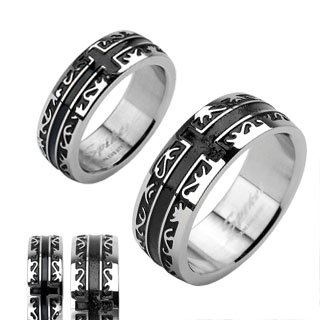 (Stainless Steel Black IP Tribal with a Cross Ring Size 11)