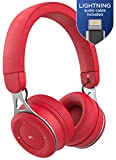 Thore Lightweight Wireless Headphones for Kids (Bluetooth 4.0) iPhone Compatible with MFi Certified Lightning Cable (Fire Red)