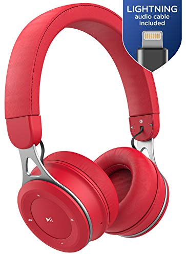 - Thore On Ear Wireless Earphones for iPhone (with Mic) - Lightweight Bluetooth Headphones for Kids w/Apple MFI Certified Lightning Connector for iPhone Xr, Xs Max (Red, Retail Packaging)