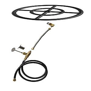 Stanbroil Natural Gas Fire Pit Burner Ring Installation Kit, Black Steel, 24-inch