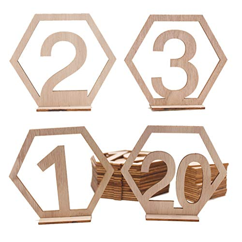 (Pathside 1-20 Digital Home Party Wedding Props Digital Card Dinner Party seat Number Table Card Wedding Decoration Guest Number Plate (Khaki) )