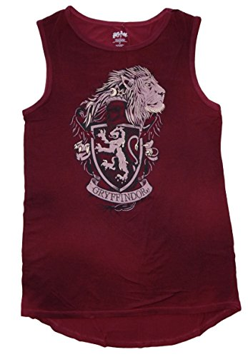 HARRY POTTER Hogwarts House Juniors Muscle Tank Top (Large, Gryffindor)